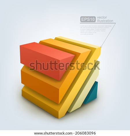 Vector Illustration of abstract 3d cube. - stock vector