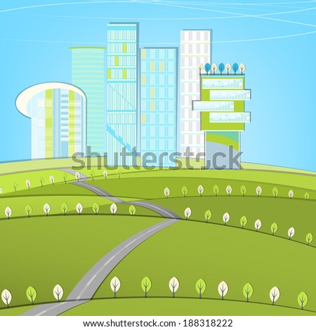 Vector illustration of abstract eco road landscape - stock vector