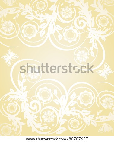 Vector illustration of abstract floral background with butterflies - stock vector