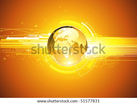 Vector illustration of abstract hi-tech Background with Glossy Earth Globe