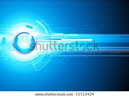 Vector illustration of abstract hi-tech Background with Glossy power button - stock vector