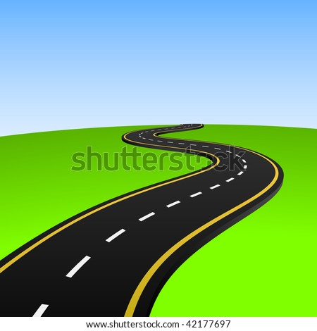 Vector illustration of abstract highway going to horizon. - stock vector