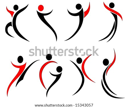 Vector illustration of abstract human silhouettes - stock vector