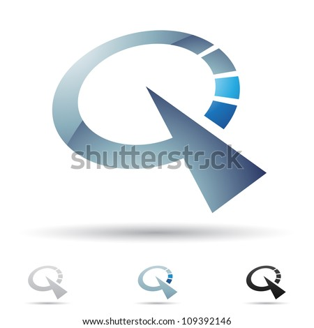 Vector illustration of abstract icons based on the letter Q - stock vector