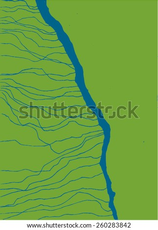 Vector illustration of abstract map of river and gound. Blue lines on green surface. - stock vector