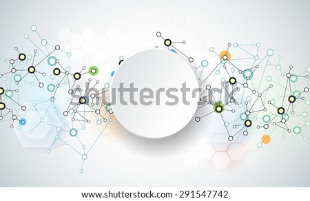 Vector illustration of abstract molecules and communication. Social media technology concept with 3D paper label circles design and space for your content, business, , network and web design.     - stock vector
