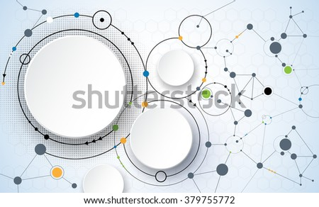 Vector illustration of abstract molecules and communication - social media technology concept with 3D paper label circles design and space for content, business, social media, network and web design   - stock vector