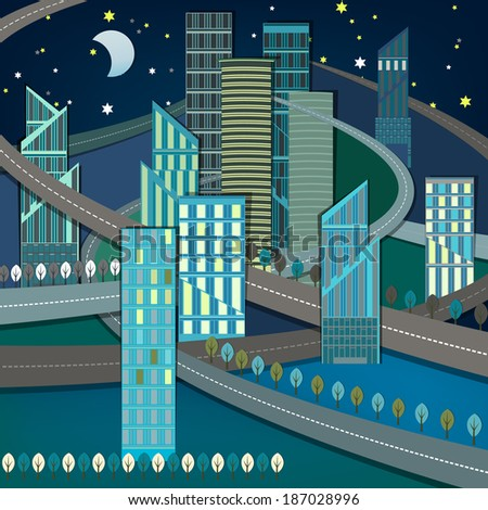 Vector illustration of abstract night city landscape  - stock vector