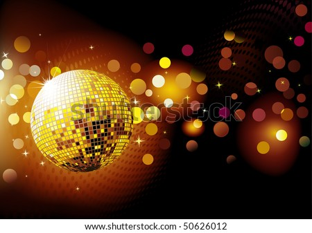 Vector illustration of abstract party Background with glowing lights and disco ball - stock vector
