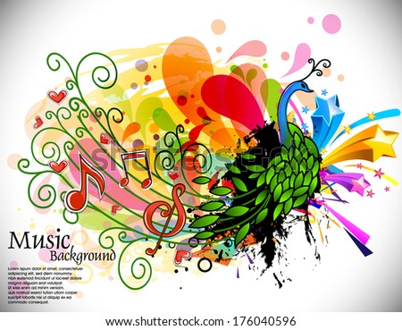 vector illustration of abstract peacock music theme  - stock vector