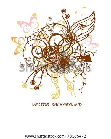 vector illustration of abstract plants and flying butterflies - stock vector