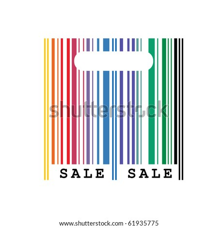 vector illustration of abstract shopping bag with barcode - stock vector