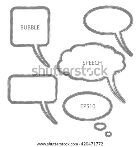 Vector illustration of abstract speech conversation bubbles. Formed shapes. Set in grey color.