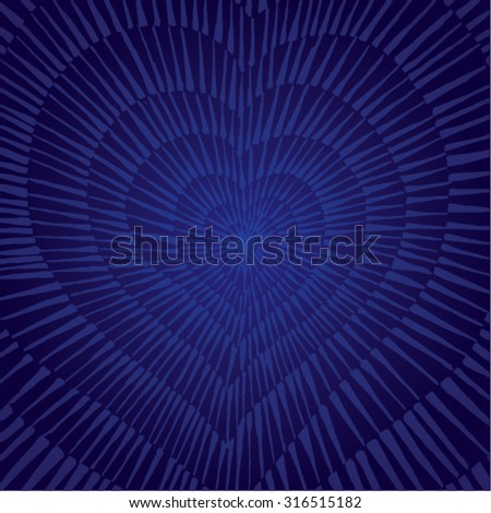 Vector illustration of abstract spiral distorted grunge heart background. Hand drawn image. Pulse, heartbeat, love, passion, life, blue.  - stock vector