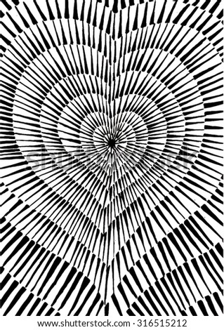 Vector illustration of abstract spiral distorted grunge heart background. Hand drawn image. Pulse, heartbeat, love, passion, life. Black & White. - stock vector