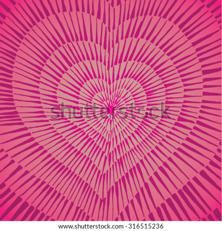 Vector illustration of abstract spiral distorted grunge heart background. Hand drawn image. Pulse, heartbeat, love, passion, life, pink.