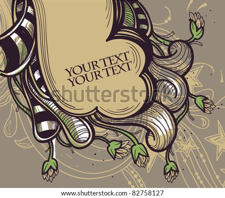 vector illustration of  abstract streaky  plants and waves - stock vector