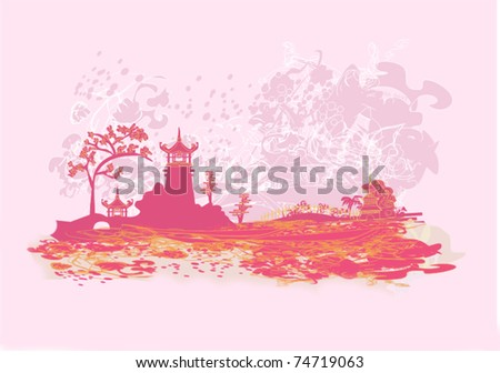 Vector illustration of abstract styled Decorative Traditional Japanese background - stock vector