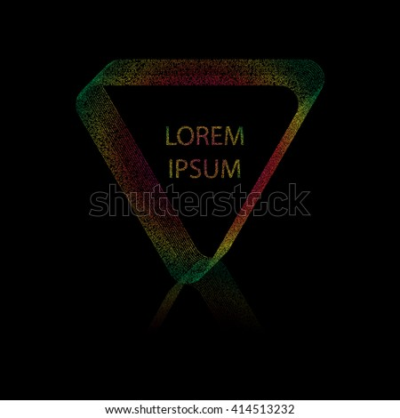 Vector illustration of abstract triangular frame. Frame filled by dots . Spectral colors. Reflection below triangle. Black background