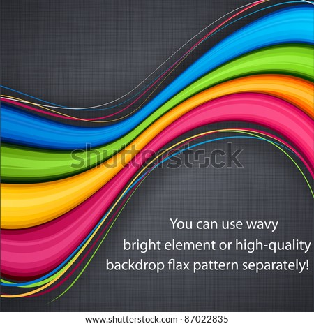 Vector illustration of abstract vibrant background on linen texture. - stock vector