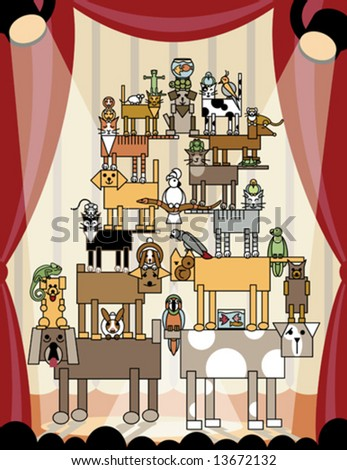 Vector illustration of acrobatic animals performing on stage. Individual pets are grouped. The stage lights transparency effects are AI v.8-compatible. - stock vector