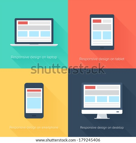 Vector illustration of adaptive web design on different electronic devices - stock vector