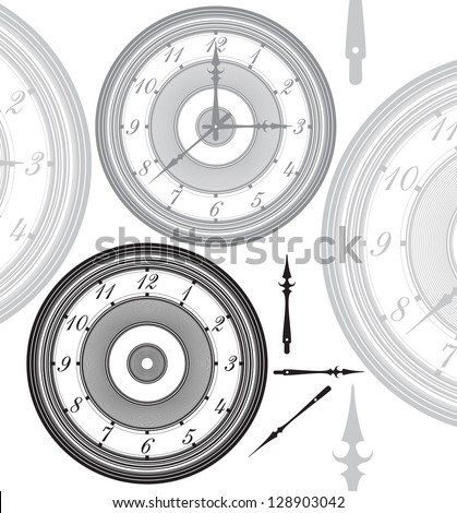 Vector illustration of adjustable, vintage clock with separated hands The hands could be moved to any desired time - stock vector