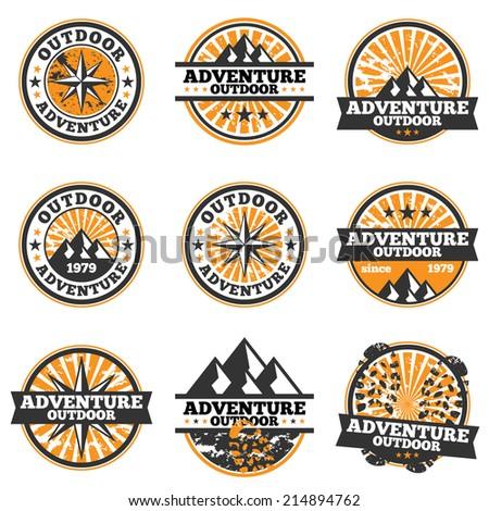Vector illustration of adventure badge design elements. - stock vector