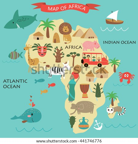 Vector illustration of Africa with its animals and national peculiarities - stock vector