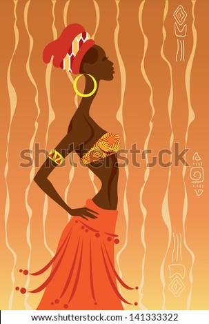 Vector Illustration of African Woman - stock vector
