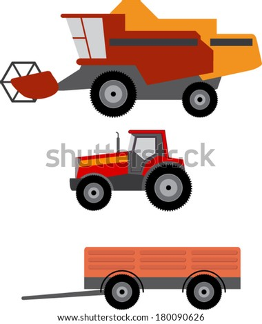 Vector illustration of agriculture vehicles - stock vector