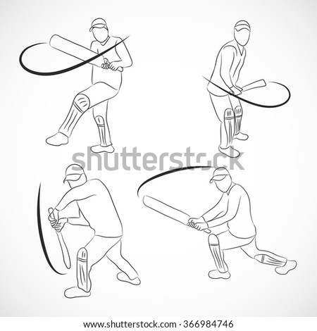 Vector illustration of ahand-drawn series - a collection of CRICKETERS - stock vector