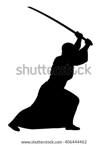 Vector illustration of aikido techniques with sword - stock vector