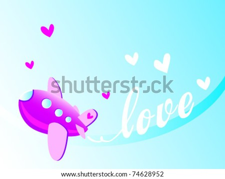 Vector Illustration of Airplane Drawing a declaration of love in The Sky - stock vector