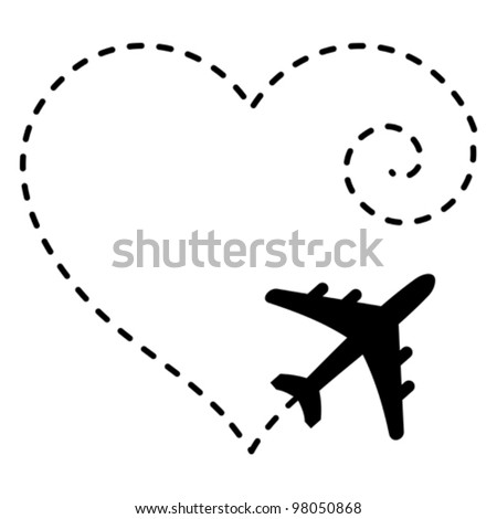 Vector Illustration Airplane Drawing Heart Shape Stock Vector ...