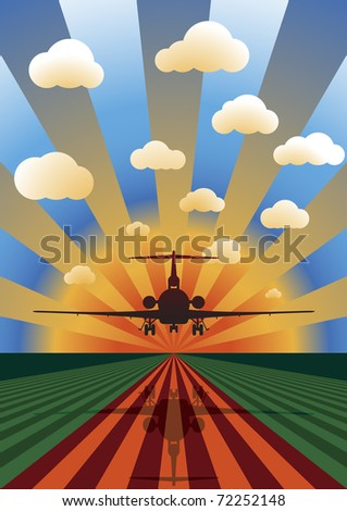 Vector Illustration of Airplane Landing at Sunset - stock vector