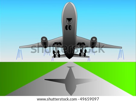 Vector illustration of airplane or airbus plane that take off from the runway