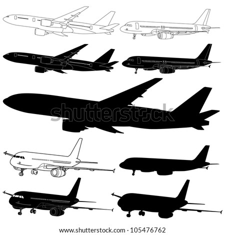 Vector illustration of airplane silhouettes set