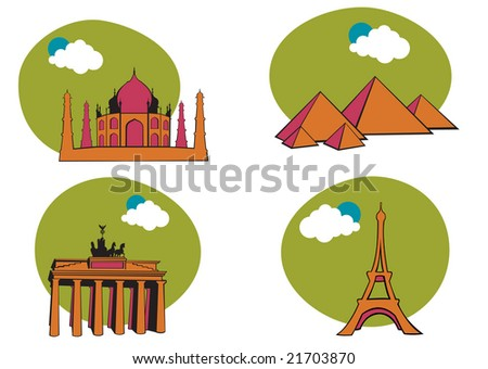 Vector illustration of All Over the World Travel. Includes the icons of Acropolis, The peramid of Kheops, Tag Mahal and Eiffel tower. - stock vector