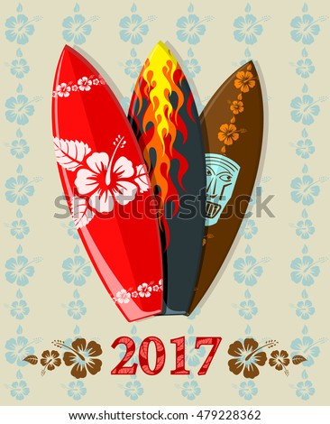 Vector illustration of aloha surf boards with 2017 text