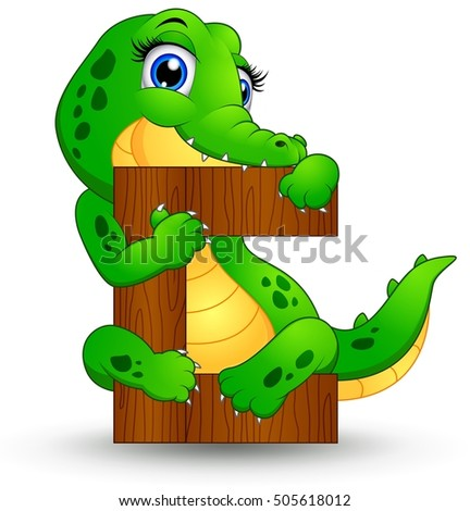 Vector illustration of Alphabet C with Crocodile cartoon