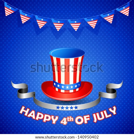vector illustration of American flag colored hat for fourth of July - stock vector
