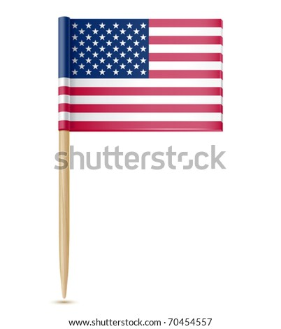 vector illustration of American flag toothpick - stock vector