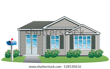 vector illustration of American house - stock vector