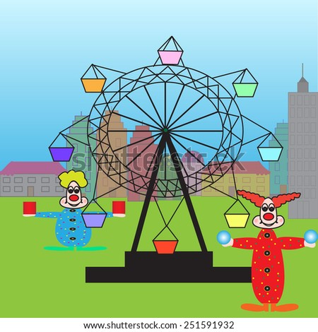 Vector illustration of amusement park for children with clowns. Vector - stock vector