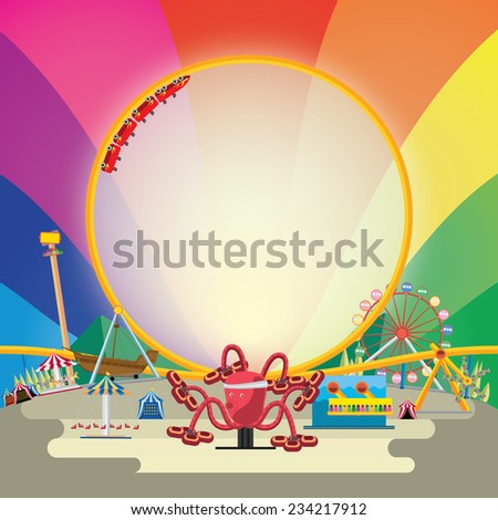 Vector illustration of amusement park with rainbow background. - stock vector
