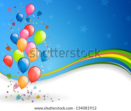 Vector Illustration of an Abstract Background with Colorful Balloons