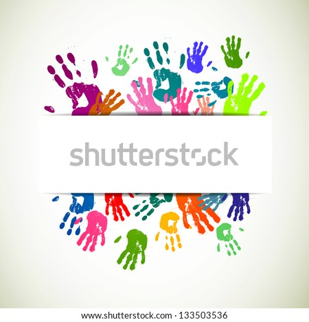 Vector Illustration of an Abstract Background with Colorful Hand prints - stock vector