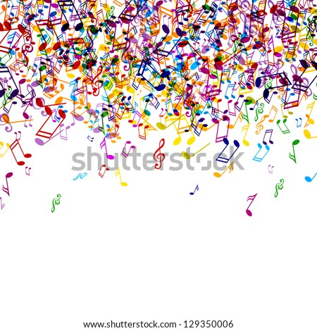 Vector Illustration of an Abstract Background with Colorful Music notes - stock vector