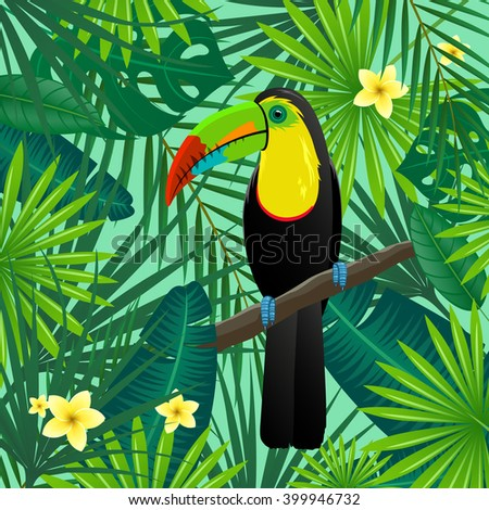 Vector Illustration of an Abstract Background with Tropical Leaves, Flowers and a Toucan